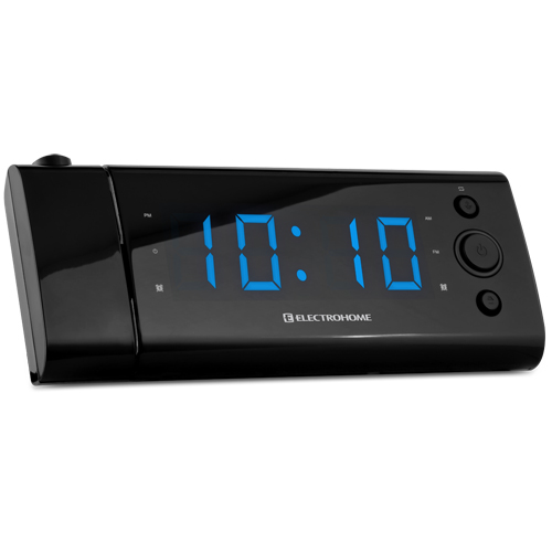 electrohome usb charging alarm clock radio with time projection battery backup auto time set. Black Bedroom Furniture Sets. Home Design Ideas