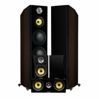 Fluance Signature Series Hi-Fi 5.0 Surround Sound Home Theater Speaker System Including Three-way Floorstanding Towers, Center & Rear Speakers (HFHTBW) – Natural Walnut<!--HFHTBW-->