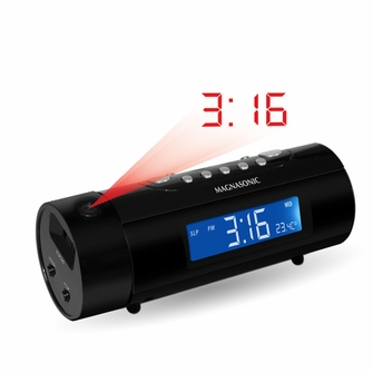 Magnasonic MAG-MM178K AM/FM Projection Clock Radio with Dual Alarm, Auto Time Set/Restore, Motion Activated Snooze, Temperature Display & Battery Backup<!--MAG-MM178K-->
