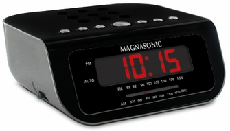 Magnasonic MAG-MM189K Ultra Compact AM/FM Alarm Clock Radio with 9V Battery Backup<!--MAG-MM189K-->
