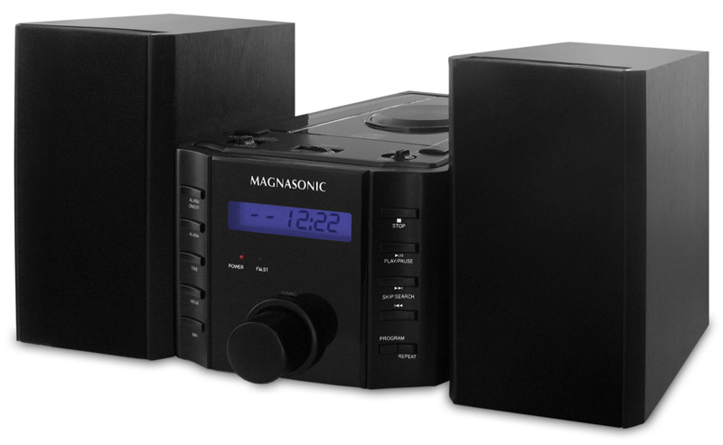 magnasonic mag ms857 cd player stereo speaker micro system with alarm clock am fm radio and. Black Bedroom Furniture Sets. Home Design Ideas