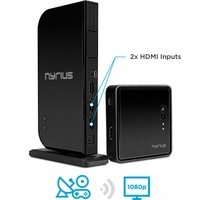 Nyrius ARIES Home+ Wireless HDMI 2x Input Transmitter & Receiver for Streaming HD 1080p 3D Video and Digital Audio from Cable box, Satellite, Bluray, DVD, PS4, PS3, Xbox One/360, Laptops, PC (NAVS502)<!--NAVS502-->