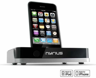 Nyrius NIC709 Media Fusion Universal TV Video Dock for iPhone 4, 3GS, 3G, 2G & iPod with On-screen Navigation, Remote Control, USB/SD & MPEG4/AVI/MP3/JPEG<!--NIC709-->