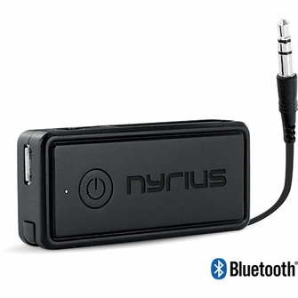 Nyrius Songo Portable Wireless Bluetooth Music Receiver Adapter for Car Audio, Headphones & Speaker Systems with 3.5 mm Connection, Rechargeable Battery, and Audio Controls<!--BR41-->