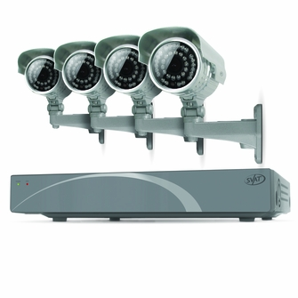 SVAT 4CH Smart Security DVR with 4 Super Resolution Outdoor 100ft Night Vision Security Cameras with IR Cut Filter 500 GB HDD iPhone, Android, Blackberry, iPad, PC & Mac compatible (11027)<!--11027-->