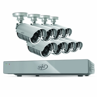 SVAT 8CH Smart Security DVR with 8 Hi-Res Outdoor 75ft Night Vision Cameras 500GB HDD& Smartphone Compatibility (11023)<!--11023-->