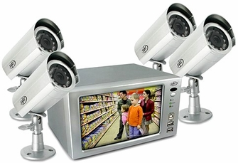 """SVAT CLEARVU1 Ultra Compact Web Ready DVR Security System - Digital Video Recorder with Built-in 7"""" LCD and 4 Hi-Res Indoor/Outdoor Night Vision Surveillance Cameras<!--CLEARVU1-->"""