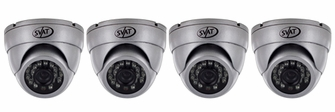 Ultra High Resolution Indoor/Outdoor Dome Security Cameras with 65ft Night Vision & 600 TVL (4 Pack)-11060<!--11060-->