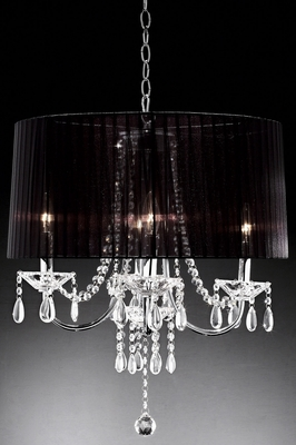 Black Satin Ribbon Shade Chandelier With Real Crystals And