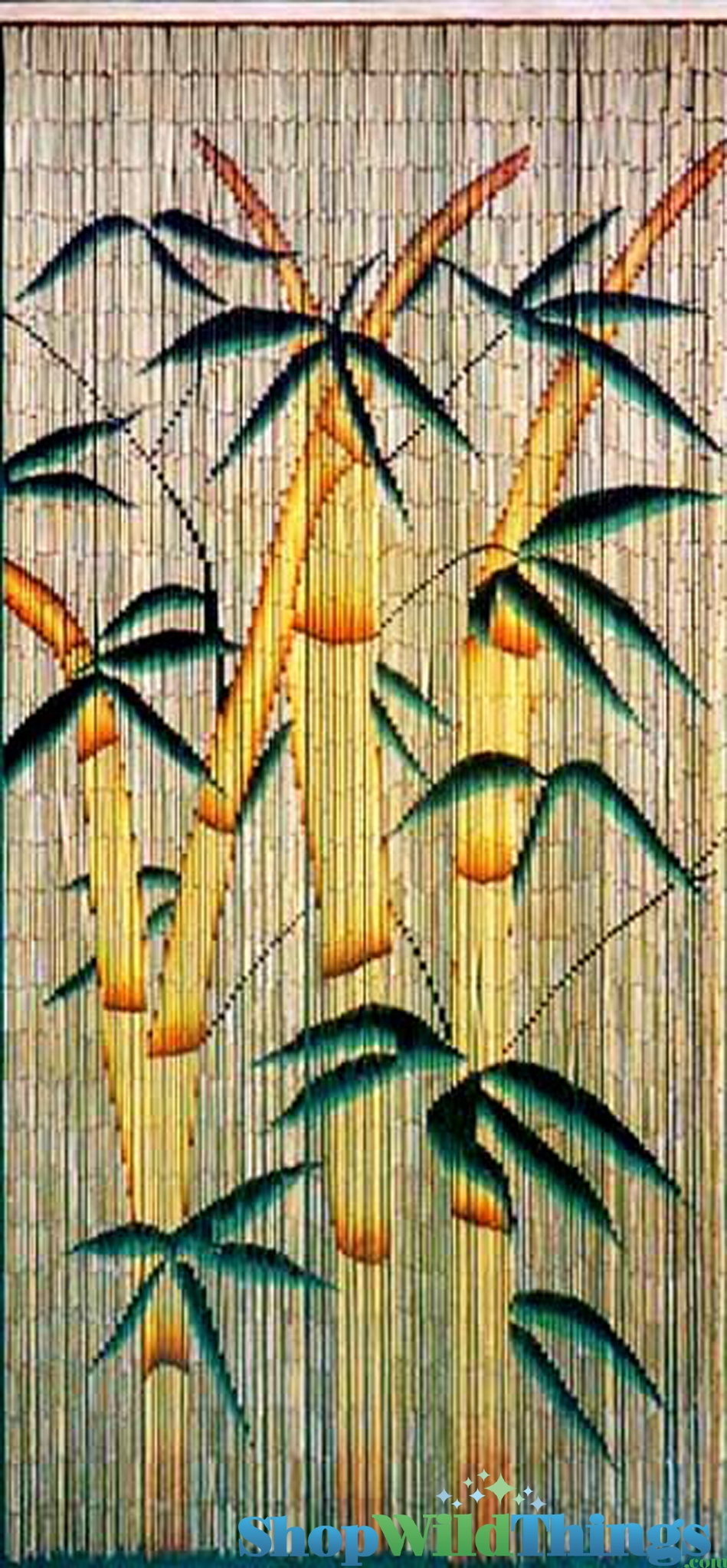 Bamboo trees decorations hanging painted bamboo beaded for Hand painted bamboo beaded curtains