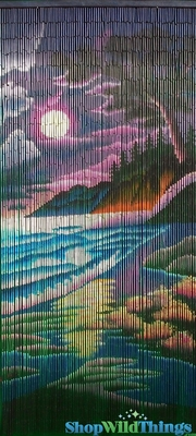 Colorful Beach Scene Bamboo Painted Beaded Curtain 90 Strands Tropical Home Decoration Idea