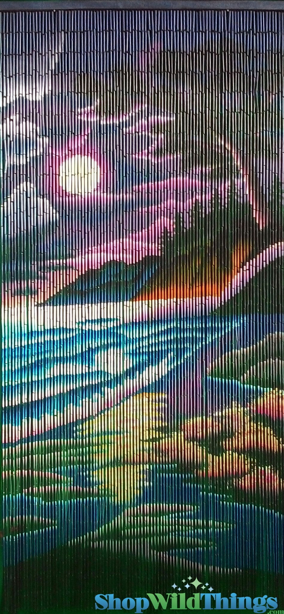 Colorful beach scene bamboo painted beaded curtain 90 for Hand painted bamboo beaded curtains