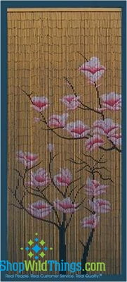 Pink Flowers Beaded Bamboo Door Curtain Shopwildthings Com