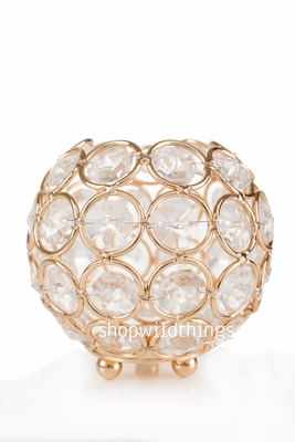 Candle Holder Real Crystal Beaded Gold Wedding And Event Votive Holder