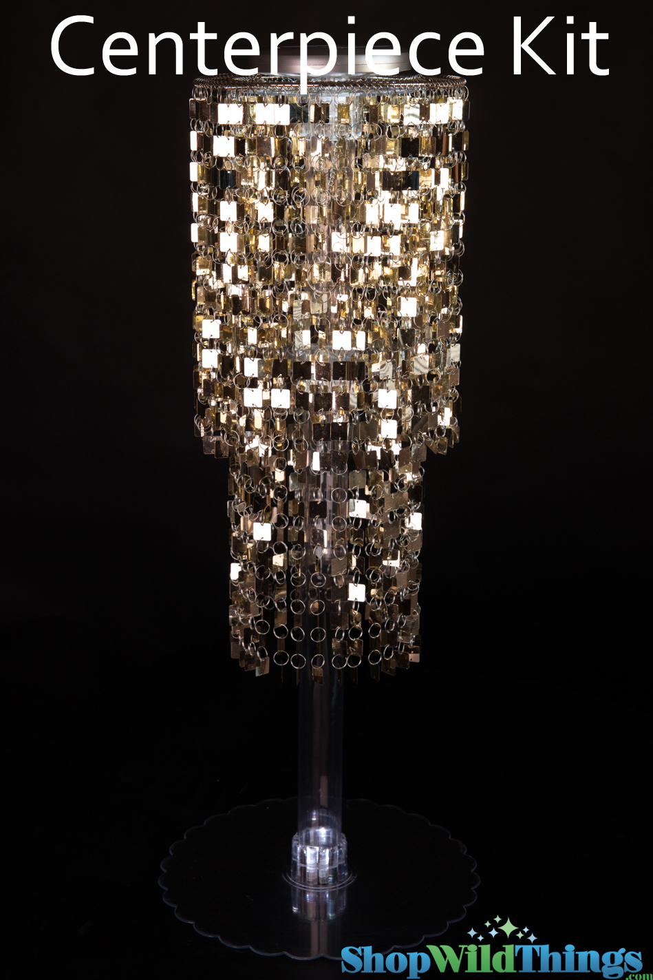 Tall gold centerpiece kit metallic chandelier and