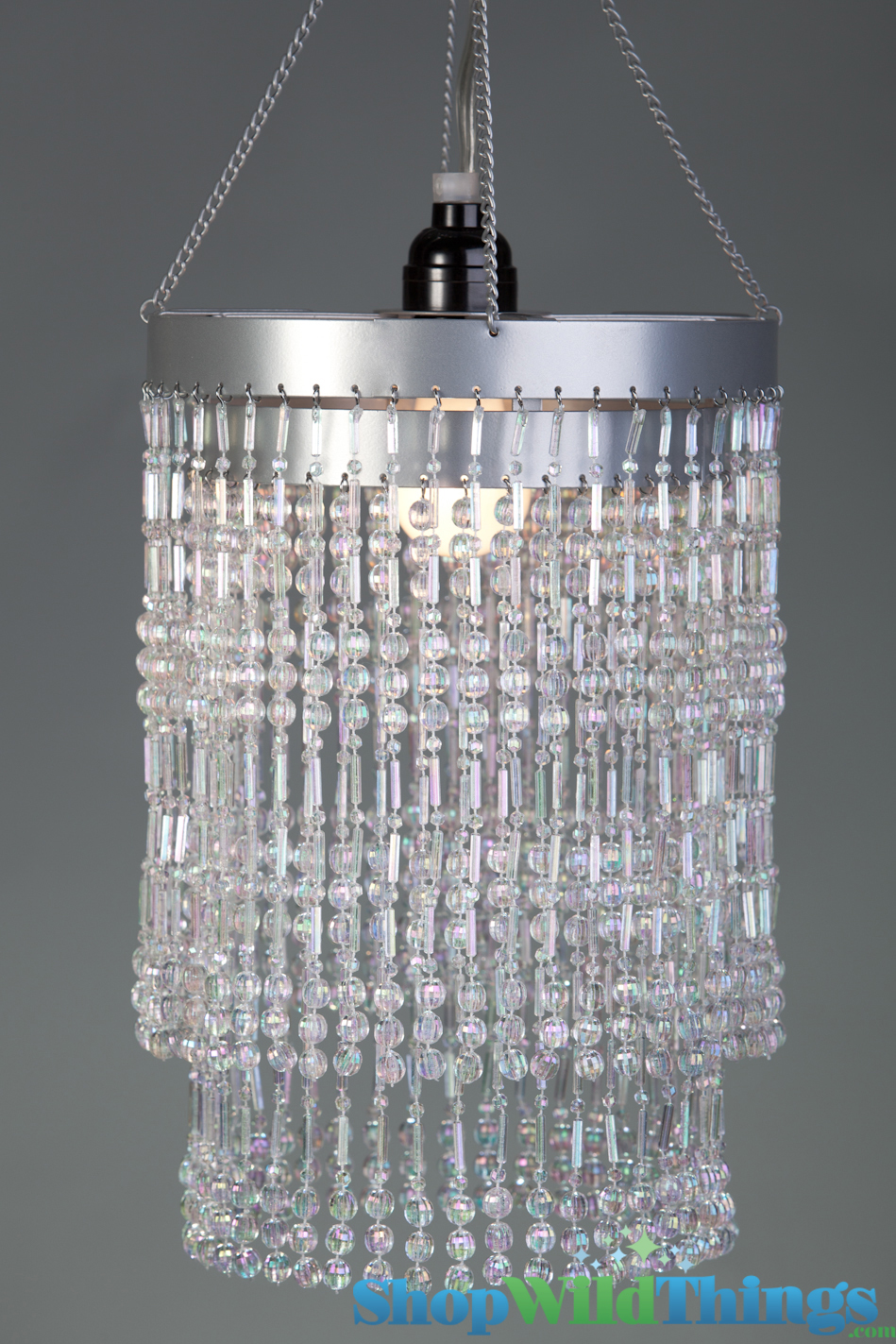 Acrylic chandelier crystal beaded 2 tier hanging for Plastic chandeliers for parties
