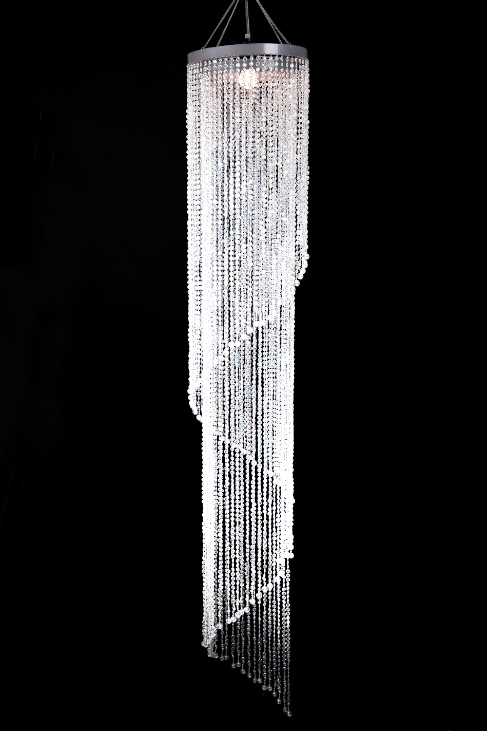 Crystal spiral chandelier large for event decoration 6 39 long with crystal diamond beads - Crystal hanging chandelier ...