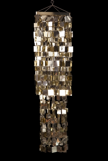 Metallic Gold 4u0026#39; Square Hanging Chandelier and Event Decoration