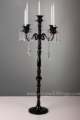Tall Black Candelabra With Hanging Crystal Beads Shopwildthings Com