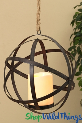 Hanging Metal Led Candle W Timer Rustic Floral Garden