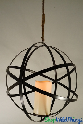 Hanging Metal Floral Sphere And Led Candle With Timer