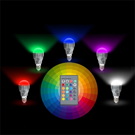 led color changing light bulb with remote control party. Black Bedroom Furniture Sets. Home Design Ideas