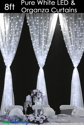 Organza Curtain Panel With Led Lights 8 Wedding