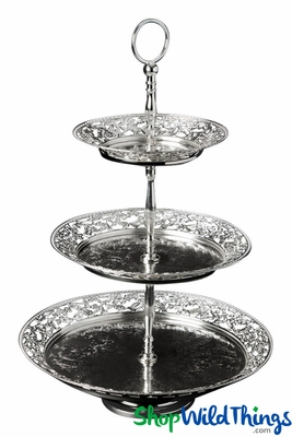 3 Tier Cupcake Stand - 20  3 Tiers - Classy Antique Silver - ShopWildThings.com  sc 1 st  ShopWildThings & 3 Tier Cupcake Stand - 20