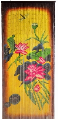 Flowers Amp Dragonfly Colorful Painted Bamboo Curtain