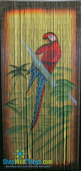 Parrot painted bamboo curtain tropical d cor for Hand painted bamboo beaded curtains