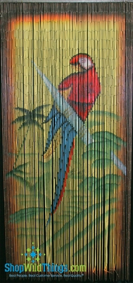 Parrot Painted Bamboo Curtain Tropical Decor