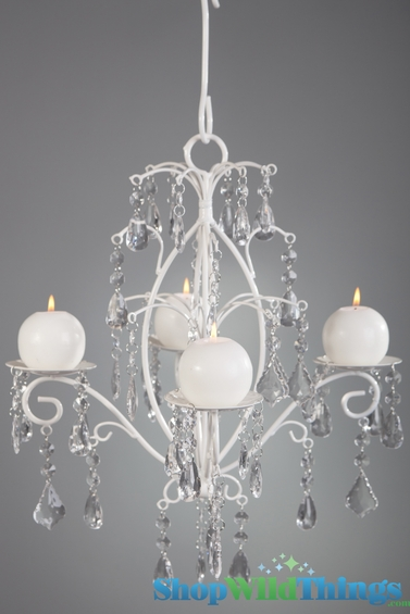 Rachelle Crystal White Hanging Candle Chandelier Medium