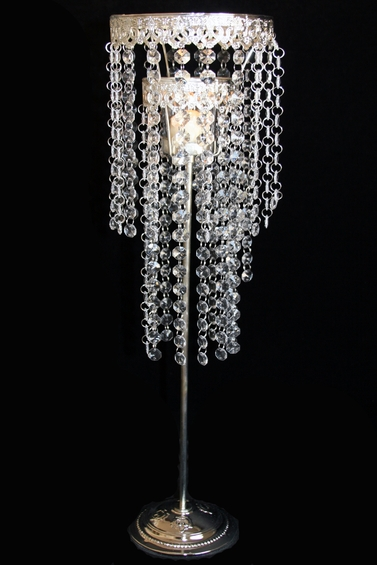 Crystal beaded two tiered candle holder centerpiece