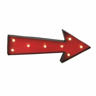 wall mounted led vintage red arrow metal sign marquee light battery