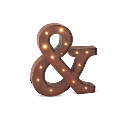 Battery operated led sign for wall decor rustic brown for Ampersand decor