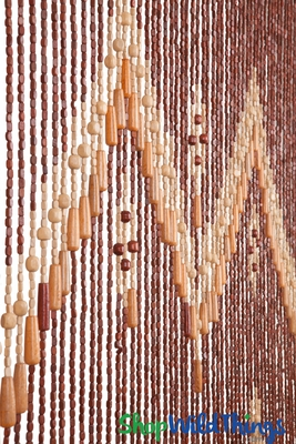 Wooden Door Beaded Curtain Multi Colored Beads