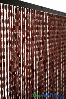 52 Strand Natural Wood Beaded Curtain Decor Accent Piece