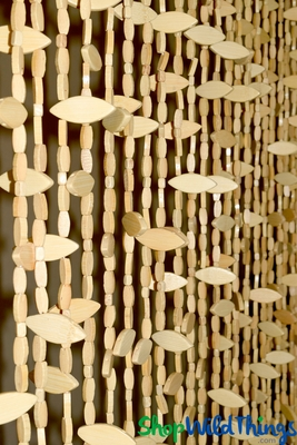 Wood Beaded Curtain 3 Dimensional Leaf Shaped Beads