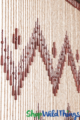 Wooden Beaded Curtain With Zig Zag Pattern