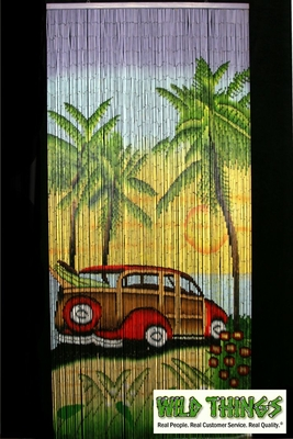 Beaded Curtains Woody Beach Scene Painted Bamboo