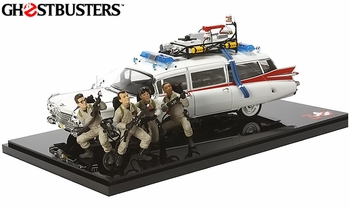 Ghostbusters Ecto-1 w/ Figures 1:18 Diecast Model - Hot Wheels Elite - click to enlarge