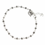anklet antique silver tiny flowers with heart charm 9 to 11 inches