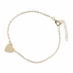 anklet gold solid heart 9 to 10.75 inches