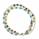 anklet gold tripple strand with turquoise beads 9 to 11 inches