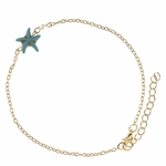 anklet gold with turquoise starfish and pearls 9.25 to 11.375 inches