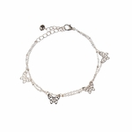 Anklet rose gold butterfly double chain