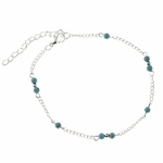 anklet silver and turquoise beads 9.375 to 11.5 inches