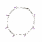 anklet silver curb chain purple teardrops
