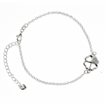 anklet silver four leaf flower with crystal accents 11.75 inches