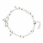 anklet silver infinity pearl 8.5 to 10.5 inches